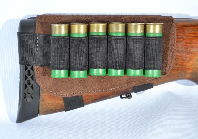 Патронташ на приклад на 6 патронов замш коричневый (5081/2) - изображение 1