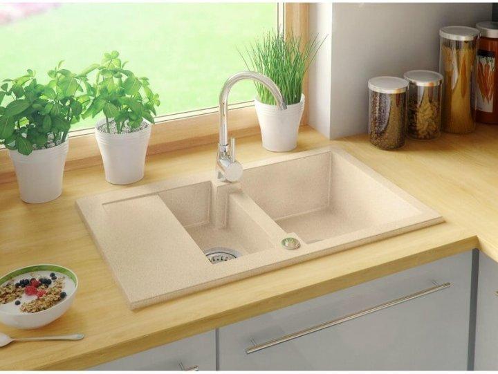 Гранітна мийка Primagran Сідней Бежева + сифон - зображення 1
