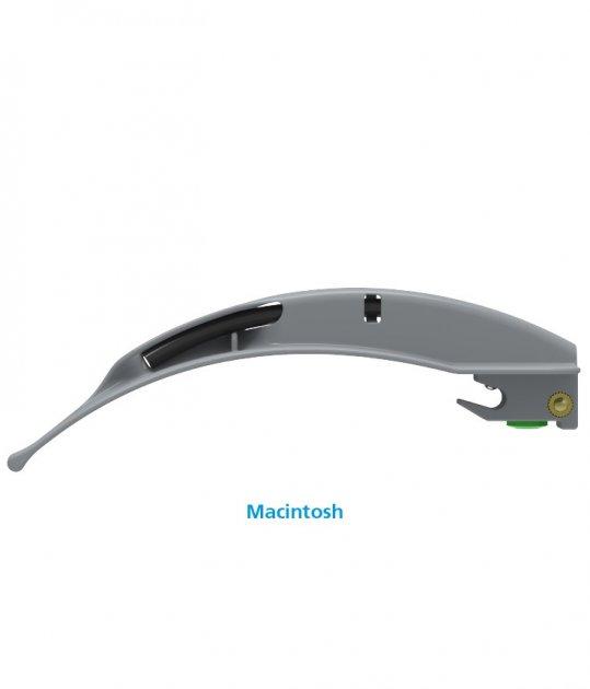Клинки Macintosh для ларингоскопов Flexicare BriteBlade Pro™ цельнометаллические фиброоптические одноразовые размер 3 - изображение 1