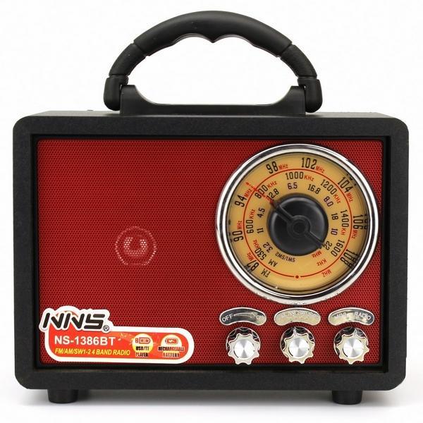 Радиоприемник NNS NS-1386BT радио в ретро стиле usb TF AUX bluetooth Черный корпус - изображение 1