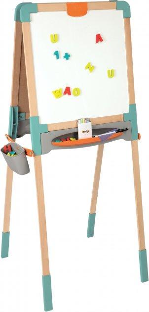 Двусторонний деревянный мольберт Smoby Toys Веселая учеба 50х55х120 см (410400) - изображение 1