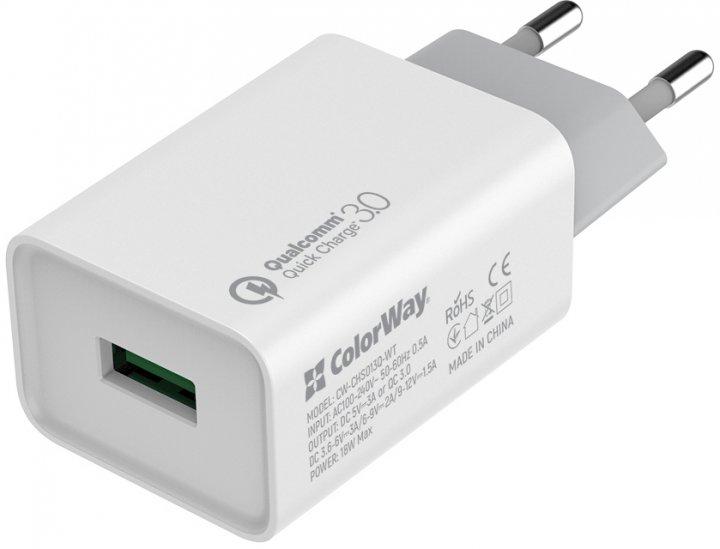 Сетевое зарядное устройство ColorWay 1 USB Quick Charge 3.0 (18W) White (CW-CHS013Q-WT) - изображение 1