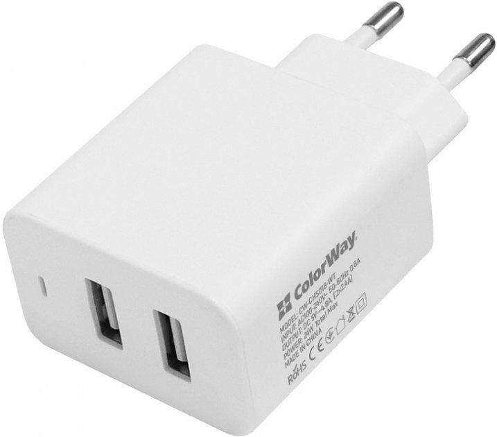 Сетевое зарядное устройство ColorWay 2 USB AUTO ID 4.8A (24W) White (CW-CHS016-WT) - изображение 1