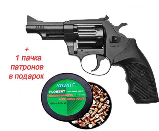 """Револьвер флобера Alfa mod.431 3"""". Рукоять №7. Матеріал рукояті - пластик + 1 пачка патронів в подарунок - зображення 1"""