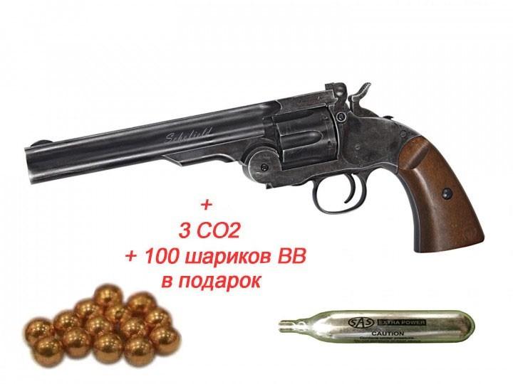 "Пневматичний Револьвер ASG Schofield Pellets 6"" Корпус - метал - зображення 1"