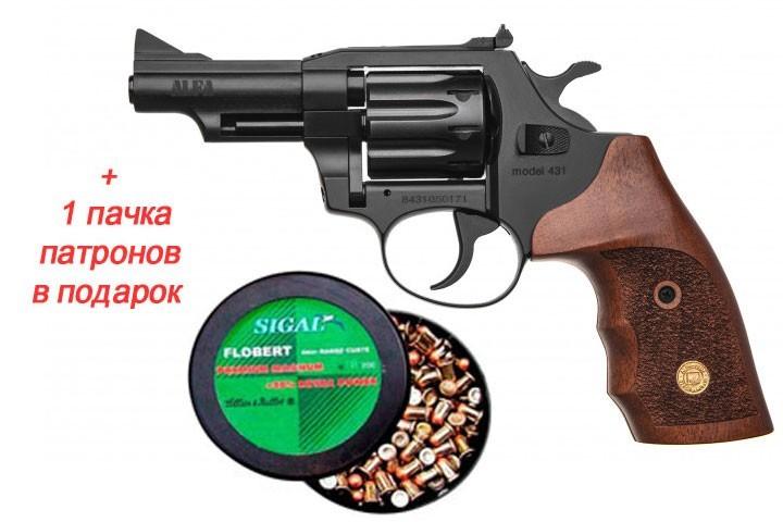 Револьвер під Флобера Alfa mod. 431 ворон/дерево + 1 пачка патронів в подарунок - зображення 1