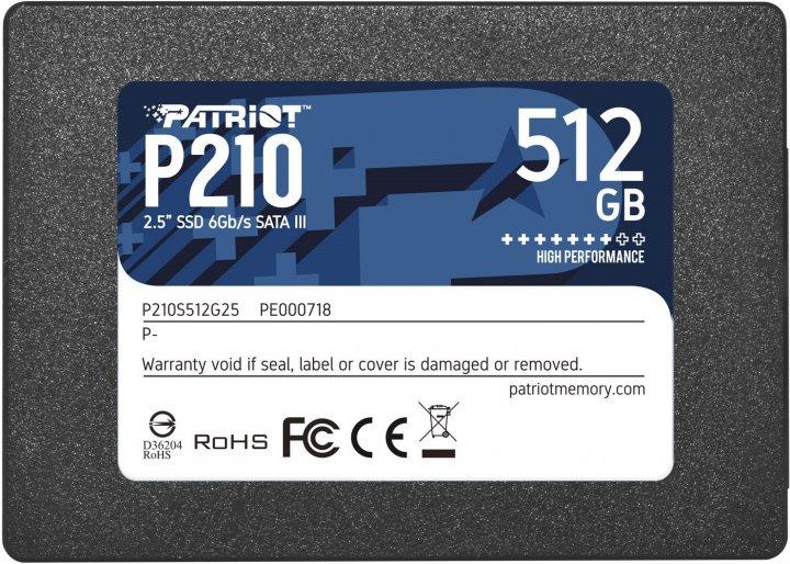 """Накопичувач SSD Patriot P210 512GB 2.5"""" SATAIII 3D QLC (P210S512G25) - зображення 1"""