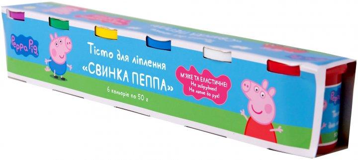 Тесто для лепки Перо Peppa Pig Свинка Пеппа 6 баночек по 50 г (120805) (4820171712900) - изображение 1
