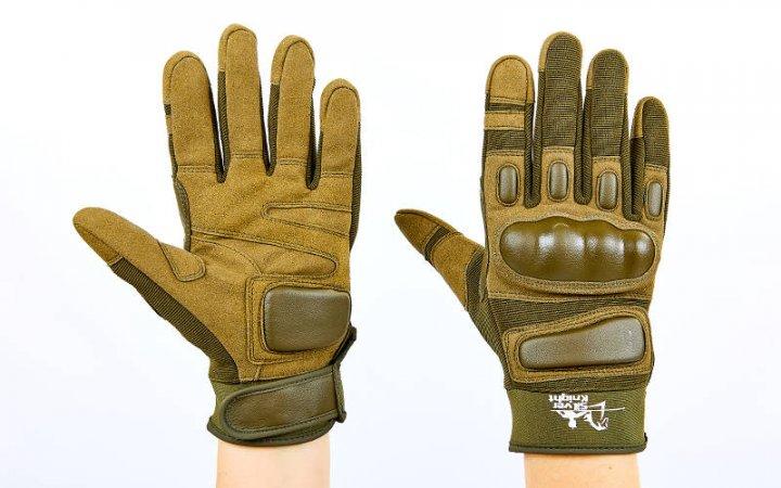 Перчатки тактические с закрытыми пальцами SILVER KNIGHT BC-7052 Оливковый L (MR03997) - изображение 1
