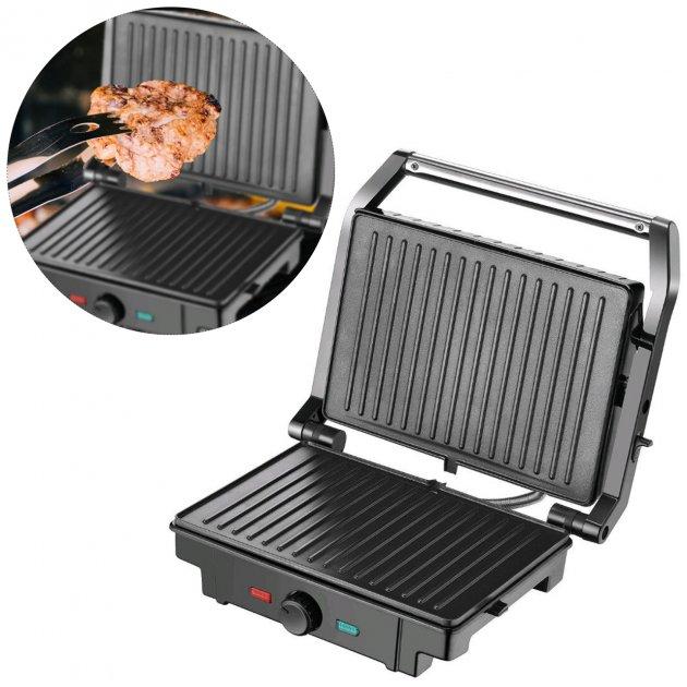 Гриль електричний для будинку контактний притискної барбекю з терморегулятором Rainberg RB-5403 2500W Чорний - зображення 1