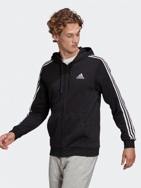 Толстовка Adidas M 3S Ft Fz Hd GK9032 S Black/White (4064045195547) - зображення 1