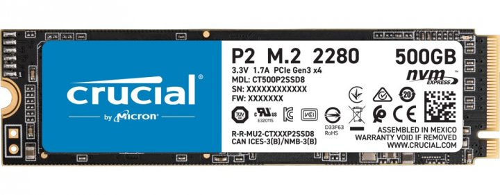 SSD накопитель Crucial P2 500GB M.2 2280 PCIe 3.0 x4 TLC (CT500P2SSD8) - изображение 1