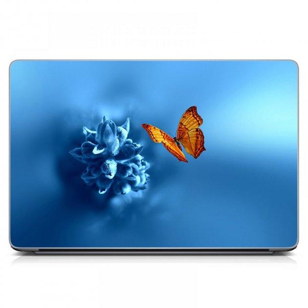 """Универсальная наклейка на ноутбук 15.6""""-13.3"""" 380х250 мм IdeaClock Бабочка на цветочке Матовый - изображение 1"""