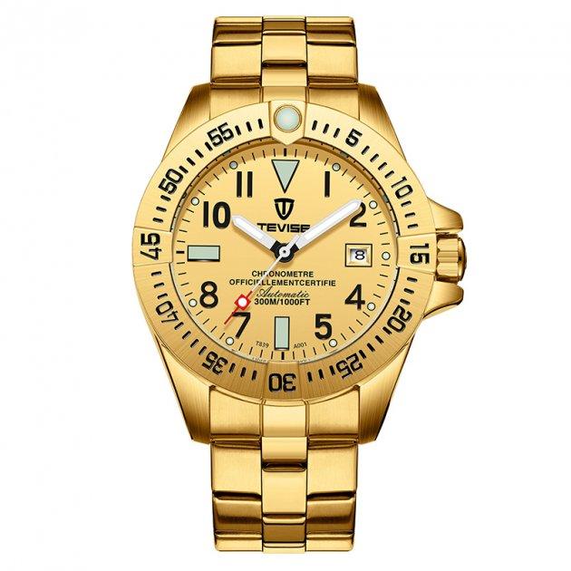 Мужские часы Tevise T839A (Gold) - изображение 1