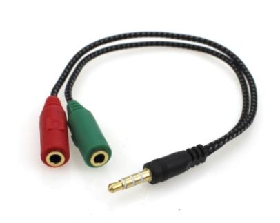 Перехідник аудіо Lucom Jack 3.5mm 4pin-3.5mm 3pinx2 M/F 0.15m (L-R-Gnd-Mic) CTIA-Standar чорний(62.09.8010) - изображение 1