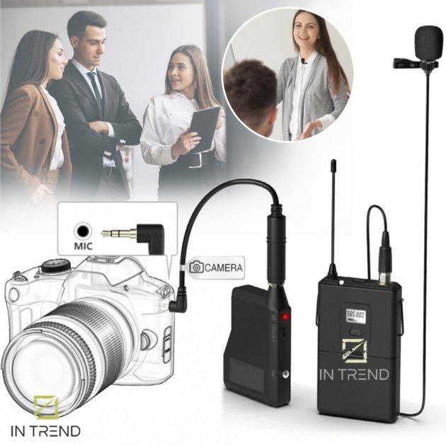 Професійна гарнітура DM 192B комплект односпрямований мікрофон бездротовий радіосистема з чистим хорошим звуком заходів для презентацій і тренінгів, Чорний - зображення 1