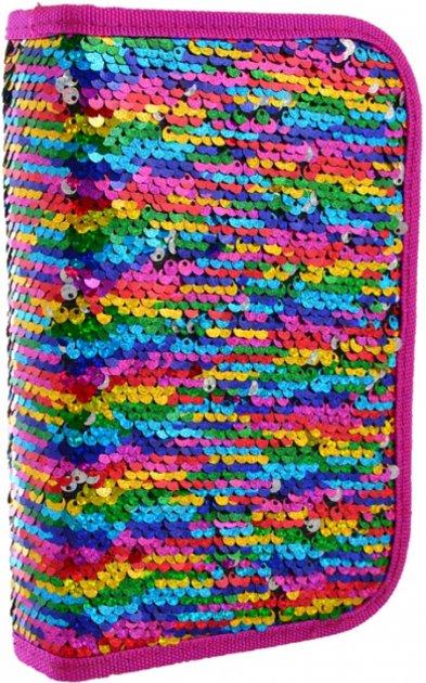 Пенал Yes Sequins твёрдый одинарный с двумя клапанами 1 отделение Разноцветный (532425) - изображение 1