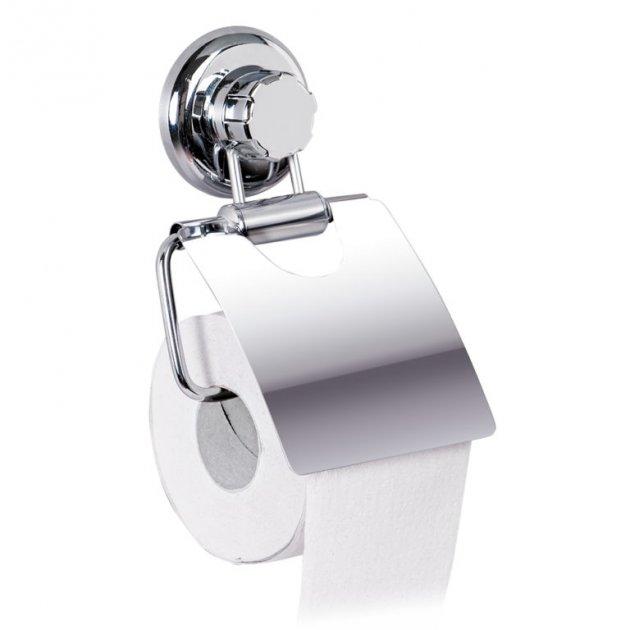 Настінний тримач туалетного паперу, хромована сталь / пластик, присоска Tatkraft Megalock - зображення 1