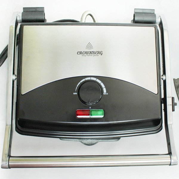 Гриль электрический сэндвичница пресс для дома Crownberg 2000 Вт лучший электрогриль бутербродница домашний для барбекю контактный настольный прижимной мультипекарь CB1067B - изображение 1