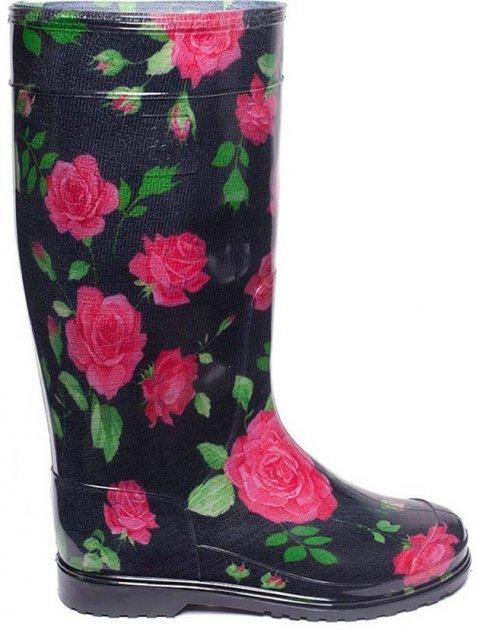 Резиновые сапоги OLDCOM Роза на черном фоне 35-36 (4841347000584) - изображение 1