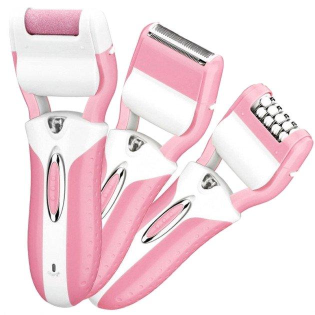 Эпилятор домашний женский 3 в 1 Gemei GM-3052 с подсветкой аккумуляторный 3 Вт эпиляция зоны бикини ног и подмышек + бритва триммер и пемза для пяток (48067 I) - изображение 1