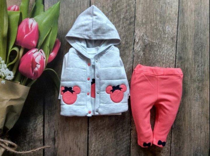 Детский костюм тройка на девочку Микки Hippil baby SF-024 -12 месяцев Коралл 74 см. - изображение 1