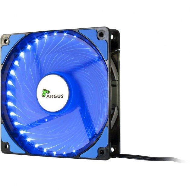 Кулер для Корпусу Argus (L-12025 BL), 120х120х25мм Blue LED, 20дба, 1200RPM, 3Pin +molex - зображення 1