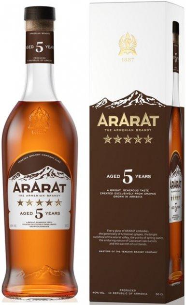 Бренди ARARAT 5 лет выдержки 0.5 л 40% в подарочной упаковке (4850001001935) - изображение 1