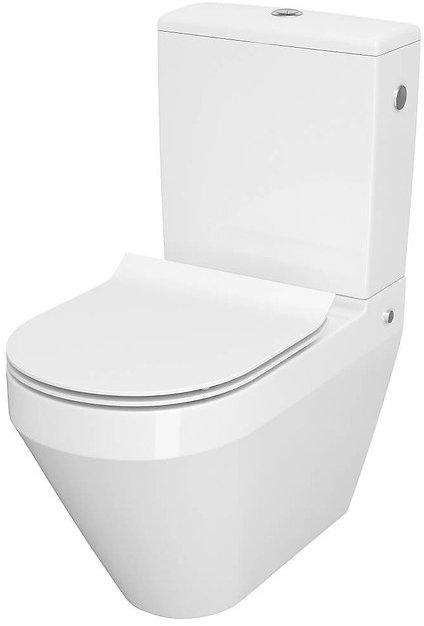 Унитаз-компакт CERSANIT Crea CleanOn 011 3/5 овальный с бачком и сиденьем Slim Soft Close дюропласт - изображение 1