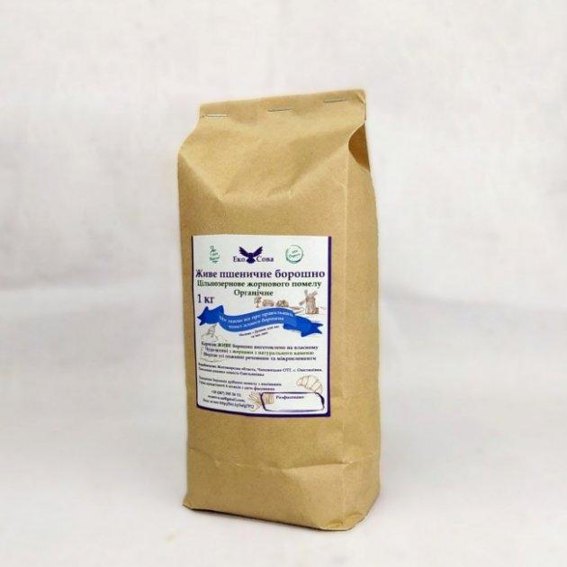 Мука пшеничная ОРГАНИЧЕСКАЯ цельнозерновая. Жернового помола. 1 кг. - изображение 1