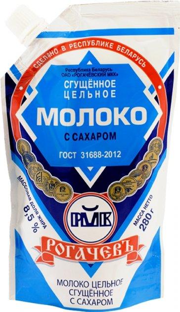 Молоко сгущенное цельное Рогачевъ с сахаром 8.5% 280 г (4810065009568_4810065012797) - изображение 1