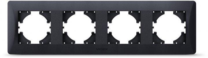Рамка VIDEX Binera на 4 пости горизонтальна Чорний графіт (VF-BNFR4H-BG) - зображення 1