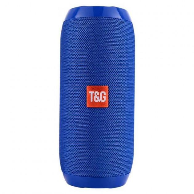 Портативная Bluetooth колонка T&G 117, влагостойкая c функцией громкая связь, FM радио, синяя - изображение 1