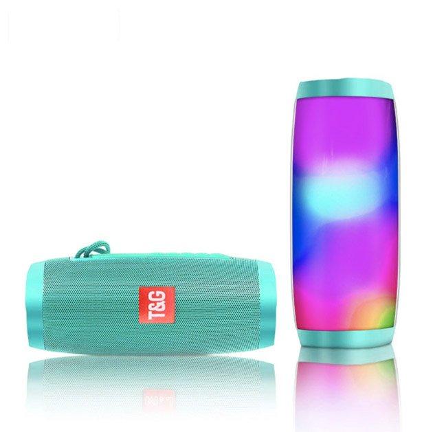 Переносная Bluetooth колонка T&G 157 Pulse Портативная с разноцветной подсветкой, громкая связь. Бирюзовая - изображение 1