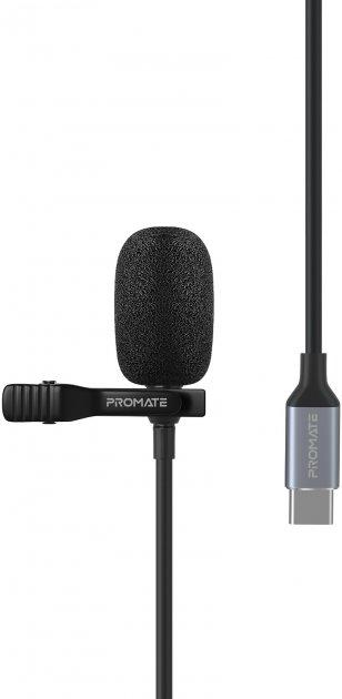 Микрофон Promate ClipMic-C USB Type-C Black (clipmic-c.black) - изображение 1