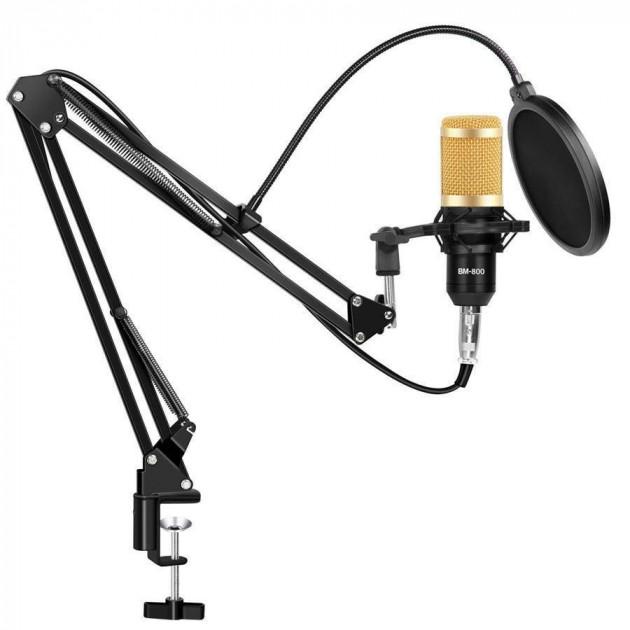 Студійний конденсаторний мікрофон UKC M-800 зі стійкою і вітрозахистом Чорно-золотий - зображення 1