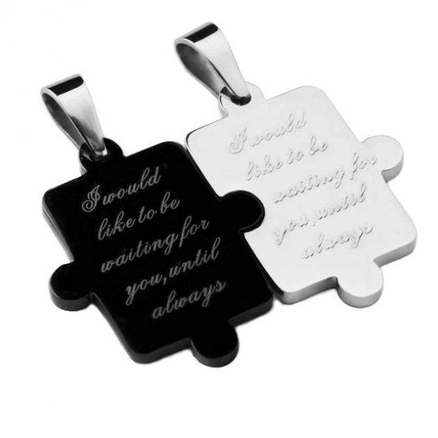 Парні кулони Пазл любові DiaDemaGrand Срібний з чорним (kpkt115518-15-19) - зображення 1
