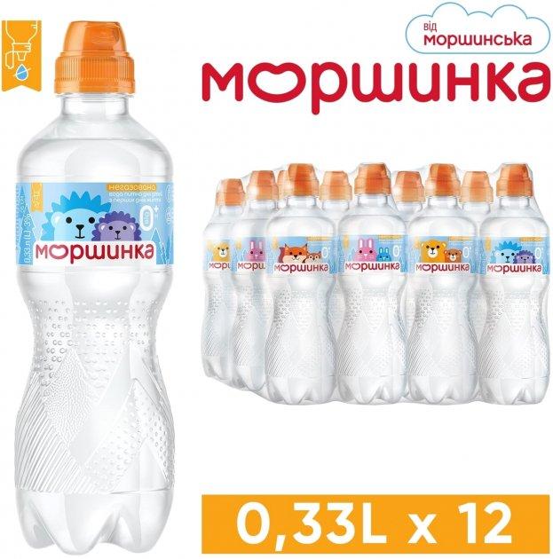 Упаковка минеральной питьевой негазированной детской воды Моршинка Спорт-кэп 0.33 л х 12 шт (4820017001625) - изображение 1