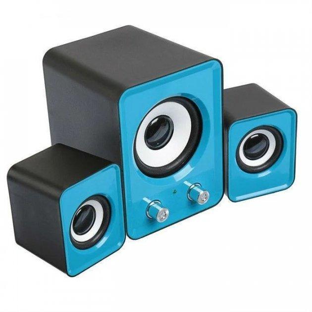 Компьютерные колонки с сабвуфером FT-202 mini 2.1 синие, акустика для ноутбука | колонки до комп'ютера (1007863-Blue-1) - изображение 1