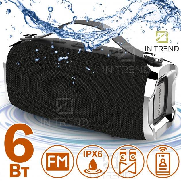 Переносная колонка Hopestar H36 акустическая USB c функцией TWS и Power Bank + мощный блютуз громкоговоритель - влагозащитная IPX6 с громким стереозвуком и FM-радио - Музыкальная портативная Bluetooth система, Чёрный - изображение 1
