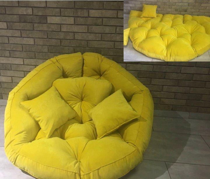 Крісло трансформер матрац з подушкою безкаркасне розкладне лежак Жовтий (1778767663) - зображення 1