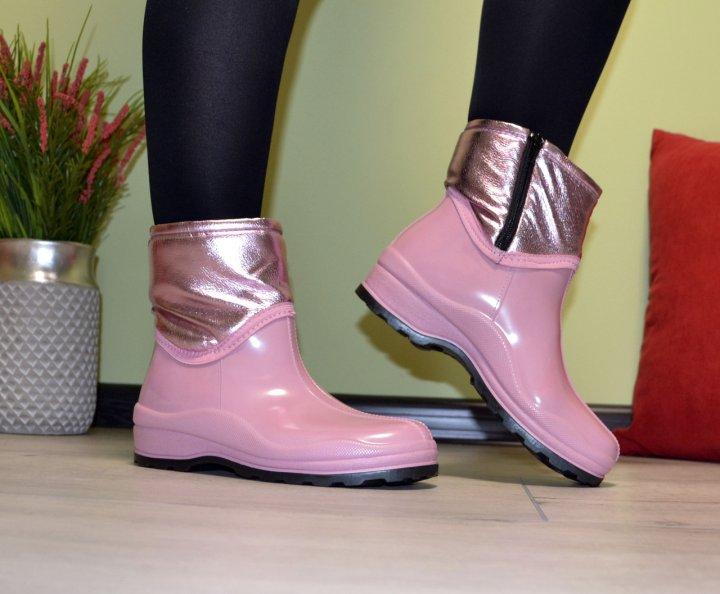 Ботинки полусапожки W-shoes 119bz резиновые непромокаемые утепленные флисом по всей длине розовые женские 37р. (23,5 см) b-217 - изображение 1