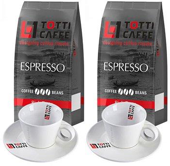 Набір Totti Caffe Кава в зернах Espresso 1 кг х 2 шт. + Чашка 65 мл з блюдцем 2 шт. (8720254065540) - зображення 1