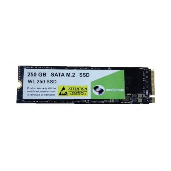 SSD 250GB Mediamax M. 2 2280 NVMe PCIe 3.0 x4 3D NAND TLC Black (WL 250 SSD Black) Refurbished напрацювання до 1% - зображення 1