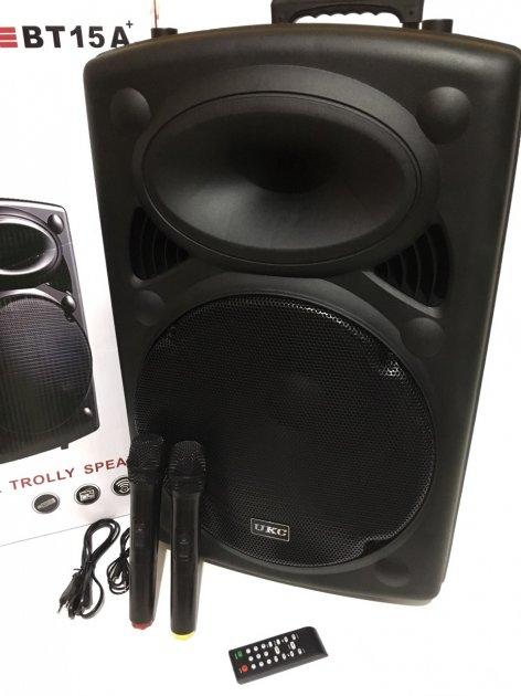 """Акустична система комбік 2 радіо мікрофона бездротова акумуляторна колонка 15"""" USB FM UKC BT15A Black - зображення 1"""