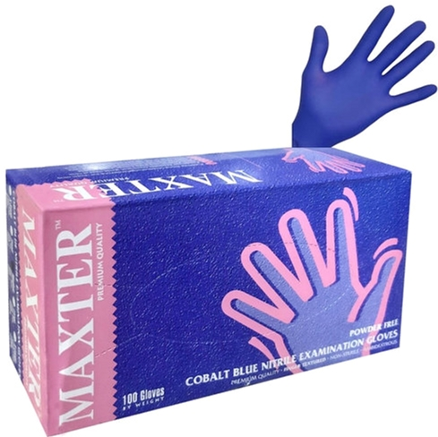 Перчатки нитриловые одноразовые нестерильные без пудры Maxter 2.2 Mil размер S 100 шт - 50 пар Синие (1300026170) - изображение 1