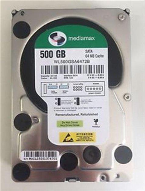 Накопитель HDD SATA 500GB Mediamax 7200rpm 64MB (WL500GSA6472B) гар. 12 мес. Refurbished - изображение 1