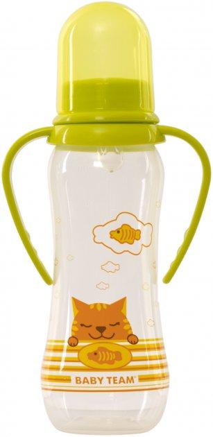 Бутылочка для кормления Baby Team с силиконовой соской и ручками 0+ 250 мл Салатовая (1411_салатова) - изображение 1