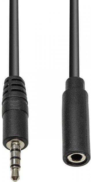 Аудіокабель мультимедійний PowerPlant 3.5 мм (M) — 3.5 мм (F) 4С 1 м Чорний (CA912841) - зображення 1