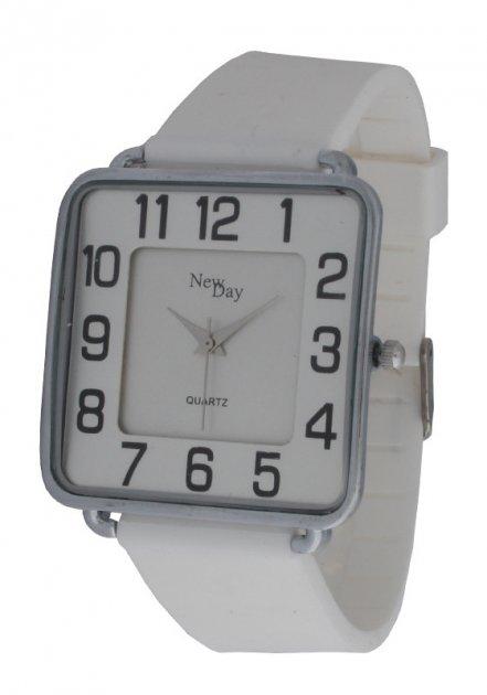 Жіночі годинники NewDay Ch183c класичні квадратні на білому ремінці - зображення 1